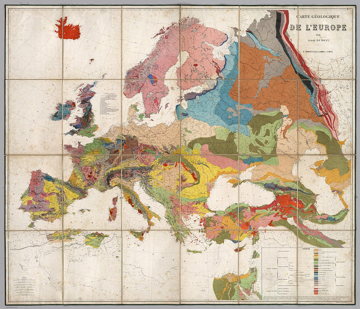 A French geological map of Europe.