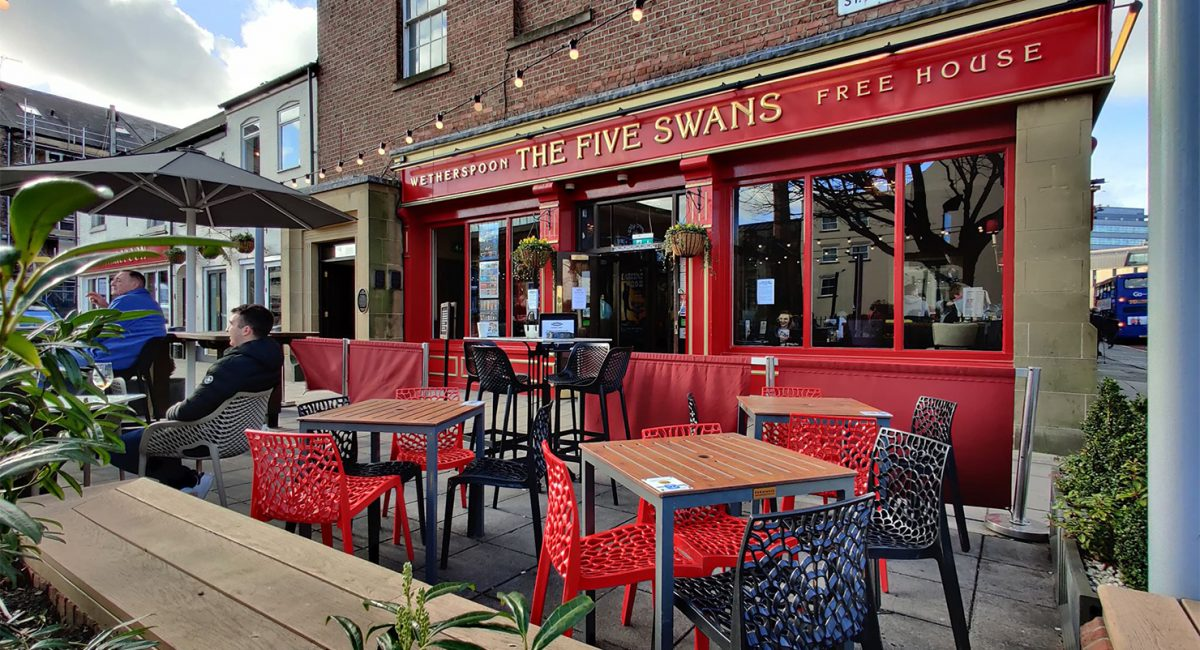 A newly-reopened Five Swans