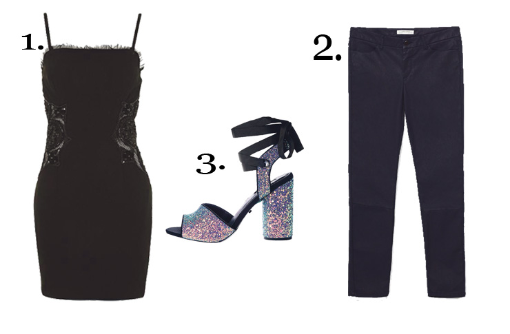 NYE Outfit 1. Topshop Beaded Side Mini Dress 35E14KBLK £125.00 2. ZaraWaxed Effect Skinny Jeans 6156/242 £29.99  3. Topshop Royal Glitter Sandals 32R82KMUL