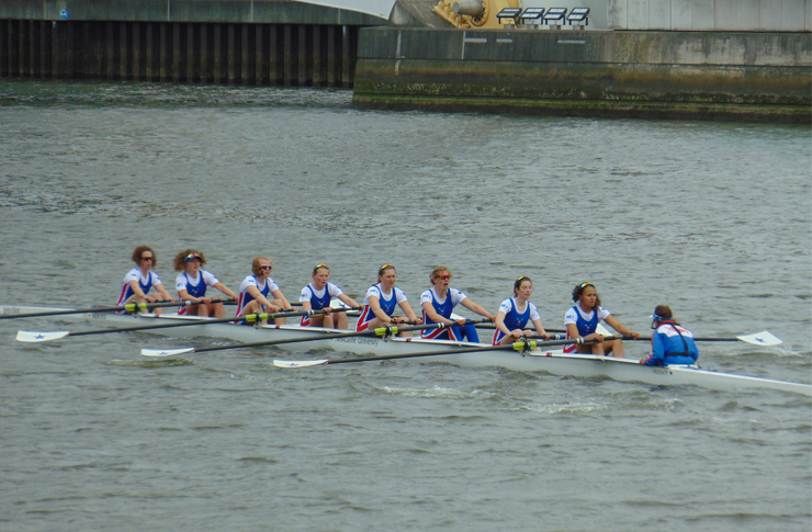 Water warriors: Newcastle's women's boats won two of their three races. Image: James Sproston