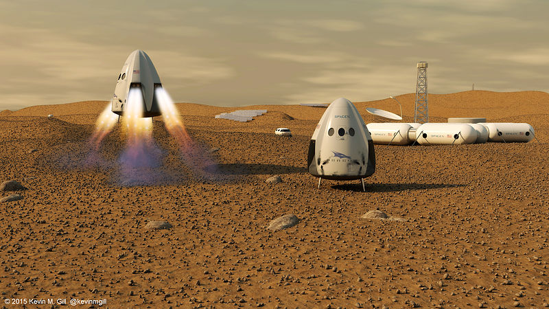 SpaceX Dragon Capsule on Mars. Image: Kevin Gill, Nashua, United States