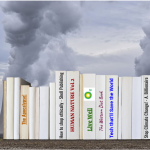 A row of books made to look as though they are spewing fossil fuel smoke